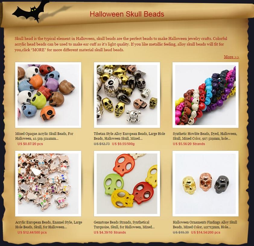 Halloween skull beads