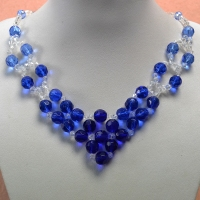 Handmade Fashion Fresh and Clear Blue Glass Beads Necklace