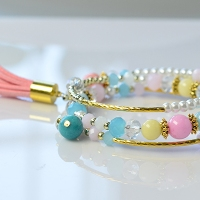 DIY Beaded Multi-strand Bracelet with Tassel and Charms