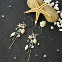 Handmade Ocean Style Beaded Tassels Earrings